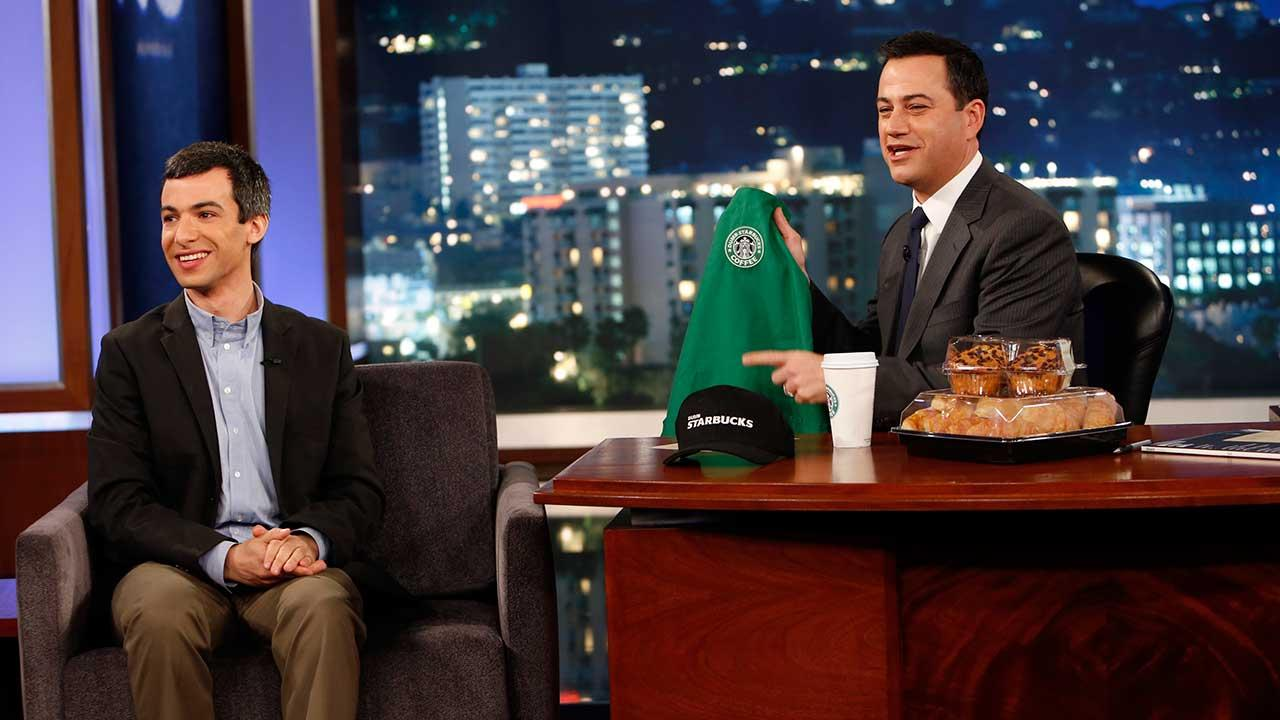 Dumb Starbucks owner and comedian Nathan Fielder appears on Jimmy Kimmel Live on Tuesday, Feb. 12, 2014.