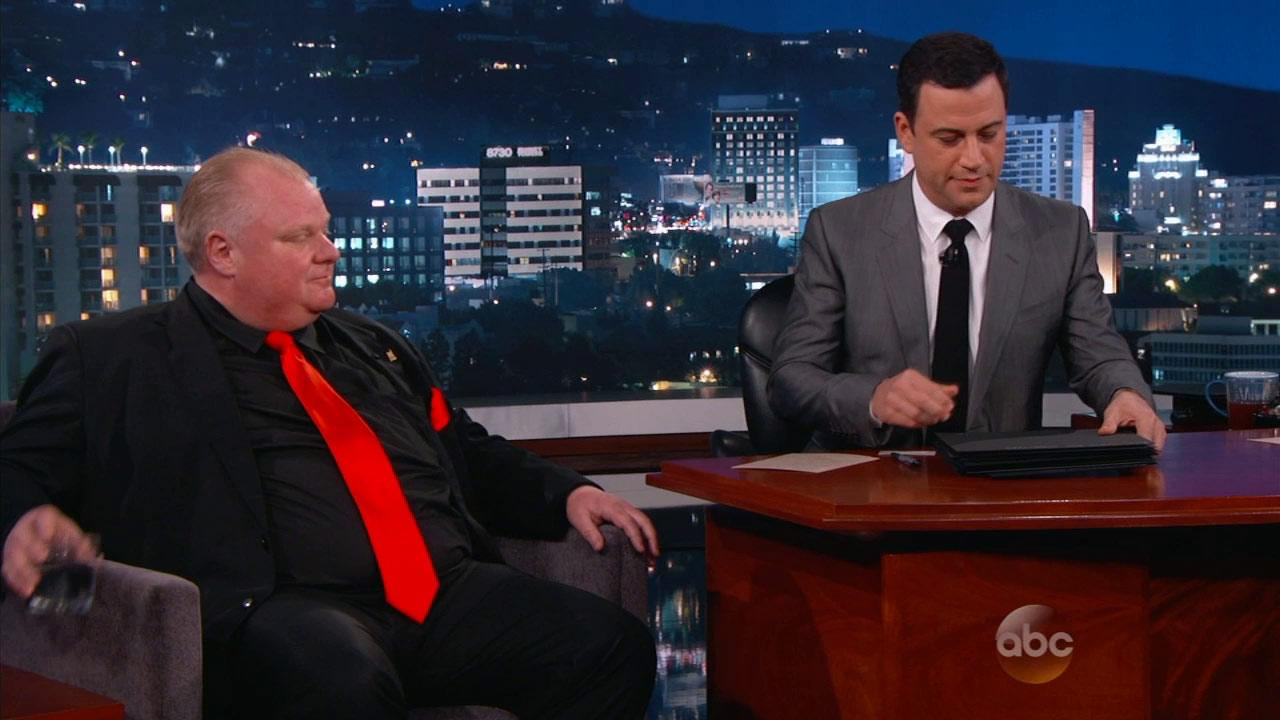 Toronto Mayor Rob Ford appeared on Jimmy Kimmel Live Monday, March 3, 2014.