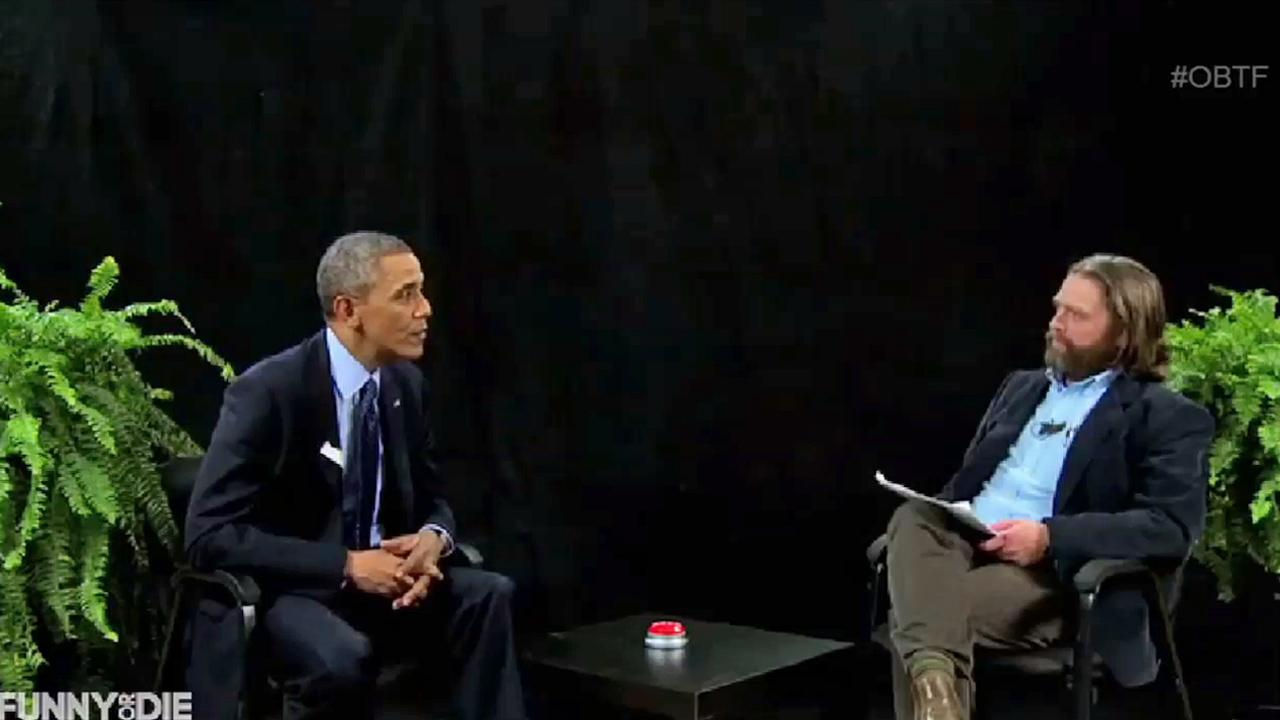 President Barack Obama joked with comedian Zach Galifianakis while promoting his health care plan on Funny or Dies Between Two Fern.