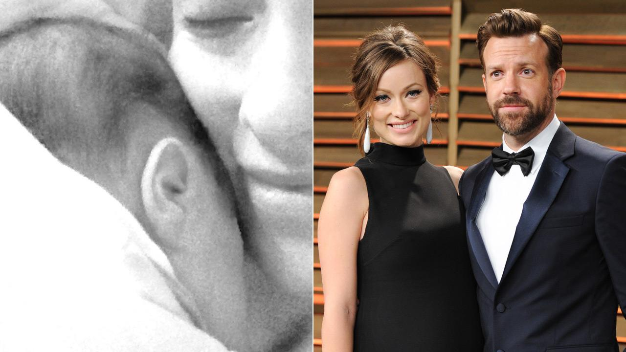(Left) Olivia Wilde tweeted out this photo of her holding her newborn son. (right) Olivia Wilde and Jason Sudeikis attend the 2014 Vanity Fair Oscar Party, on Sunday, March 2, 2014, in West Hollywood, Calif.