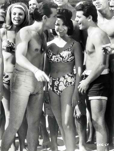 Walt Disney wouldn&#39;t allow Annette Funicello to wear a bikini until the last installment of the &#39;Bikini Beach&#39; movies, according to Kelly Killoren Bensimon&#39;s &#39;The Bikini Book,&#39; published by Assouline. She mostly wore two-piece bathing suits that covered her navel. <span class=meta>(The Walt Disney Co.)</span>