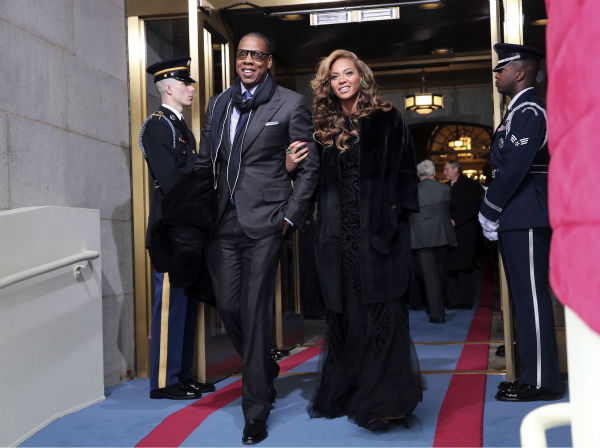 Jay-Z and Beyonce attend the ceremonial swearing-in of President Barack Obama at the U.S. Capitol during the 57th Presidential Inauguration in Washington on Jan. 21, 2013.