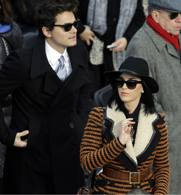 John Mayer and Katy Perry attend the ceremonial swearing-in of President Barack Obama at the U.S. Capitol during the 57th Presidential Inauguration in Washington on Jan. 21, 2013. <span class=meta>(AP Photo &#47; Carolyn Kaster)</span>