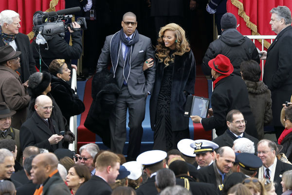 "<div class=""meta ""><span class=""caption-text "">Beyonce and Jay-Z attend the ceremonial swearing-in of President Barack Obama at the U.S. Capitol during the 57th Presidential Inauguration in Washington on Jan. 21, 2013. (AP Photo / Scott Andrews)</span></div>"