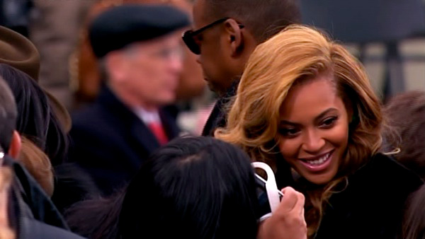 "<div class=""meta ""><span class=""caption-text "">Beyonce is seen in the crowd after President Barack Obama's ceremonial swearing-in ceremony during the 57th Presidential Inauguration. (KABC-TV)</span></div>"