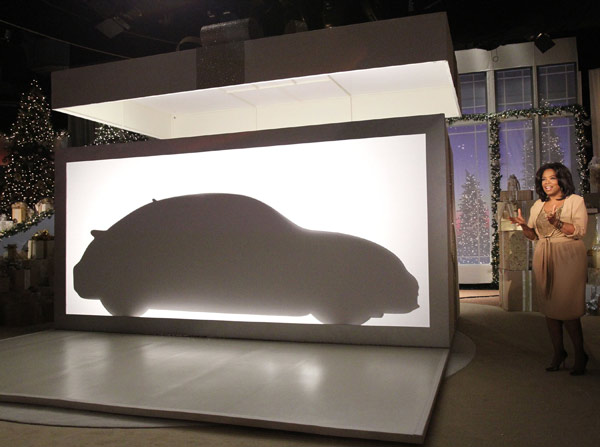 In the final Ultimate Favorite Things edition of &#39;The Oprah Winfrey Show,&#39; Volkswagen revealed the design silhouette of its new 2012 Volkswagen Beetle - and then shocked her audience by giving each of them a 2012 Volkswagen Beetle. Winfrey has selected a total of 283 things as &#39;Oprah&#39;s Favorite Things.&#39; <span class=meta>(AP Photo&#47;Paul Hurshman)</span>