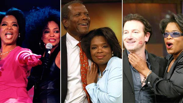 "<div class=""meta ""><span class=""caption-text "">Throughout all 25 seasons, there have been approximately 30,000 guests on 'The Oprah Winfrey Show.'  Photo: Oprah Winfrey is seen with Diana Ross, Sidney Poitier and Bono.  (HARPO Productions)</span></div>"