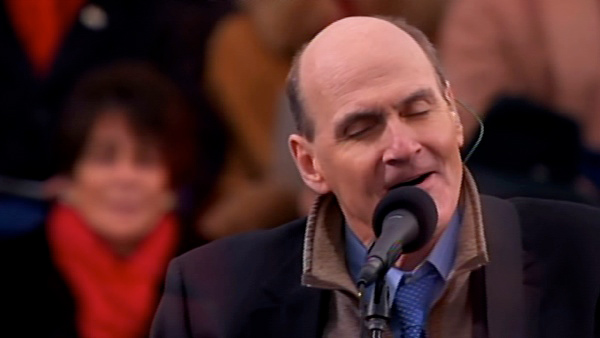 James Taylor performs 'America The Beautiful' after President Barack Obama's ceremonial swearing-in ce