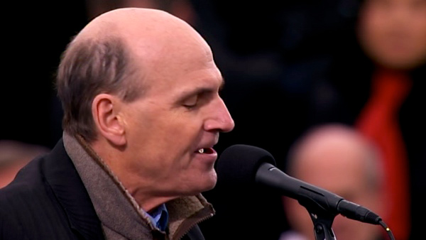 "<div class=""meta image-caption""><div class=""origin-logo origin-image ""><span></span></div><span class=""caption-text"">James Taylor performs 'America The Beautiful' after President Barack Obama's ceremonial swearing-in ceremony during the 57th Presidential Inauguration. (KABC-TV)</span></div>"