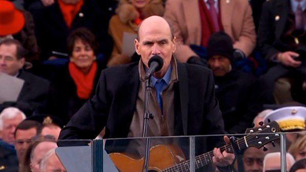 "<div class=""meta ""><span class=""caption-text "">James Taylor performs 'America The Beautiful' after President Barack Obama's ceremonial swearing-in ceremony during the 57th Presidential Inauguration. (KABC-TV)</span></div>"