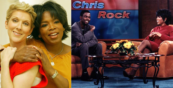 Singer Celine Dion and comedian Chris Rock hold the highest number of appearances on &#39;The Oprah Winfrey Show,&#39; with Dion appearing on 27 episodes and Rock appearing on 26 episodes. <span class=meta>(HARPO Productions)</span>