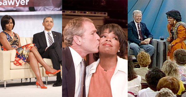 Five presidents have appeared on &#39;The Oprah Winfrey Show&#39; over its 25 seasons: Jimmy Carter, George H.W. Bush, Bill Clinton, George W. Bush and Barack Obama. <span class=meta>(HARPO Productions)</span>