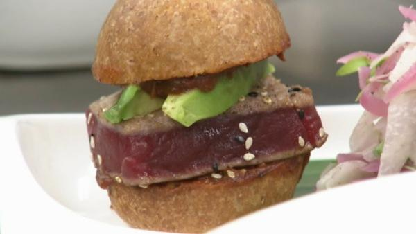 Seeds on top an ahi tuna slider works on another concept: meatless Monday. Mini whole-grain buns are grilled dry, then dipped in a roasted tomatillo sauce so the only fat in the dish is the slivers of heart healthy avocado.