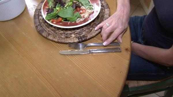 Nutritionist JJ Virgin says, 'Put your fork down. Put it down. It's not glued to your hand. So if you think every time you take a bite, put your fork down, that helps a lot.' She says to clear your palate before grabbing another bite.