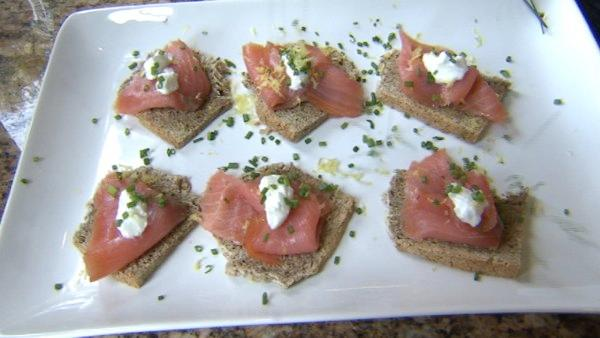 Murphy puts smoked salmon on top of the soda bread for a delicious appetizer. He tops it with a little lemon zest, Greek yogurt in lieu of creme fraiche and chopped chives.