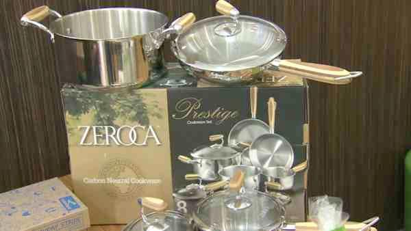 ZEROCA says their carbon-neutral cookware items are made of recycled steel and bamboo handles.