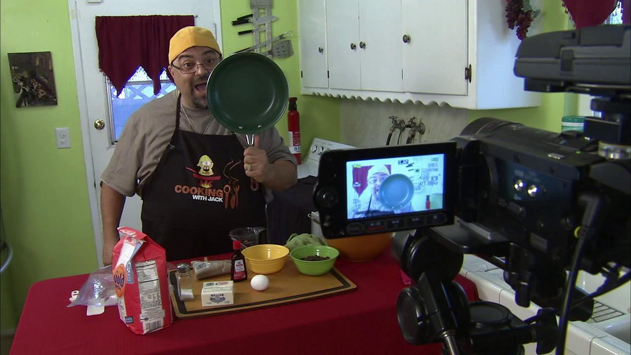 Jack Scalfani tapes his show, Cooking With Jack,  in this undated photo.