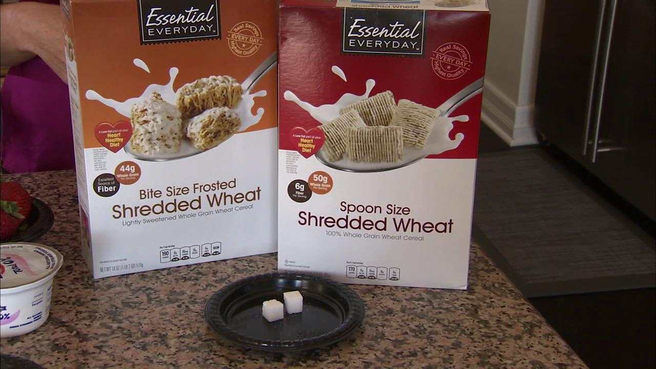 A cup of shredded wheat in lieu of frosted wheat cereal saves 2 teaspoons.