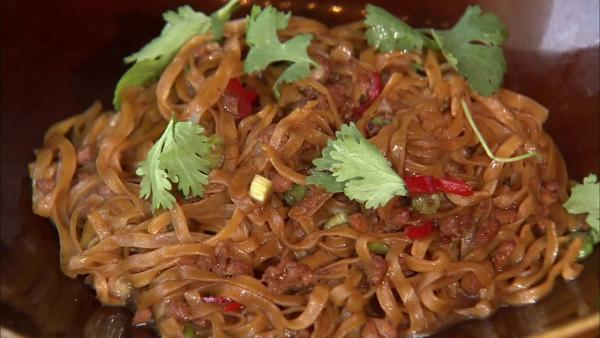 Mapo egg noodles is another tasty option that can be served with ground chicken breast, a hoisin soy sauce, chicken stock, cilantro stems and a smattering of chili and sesame oil.