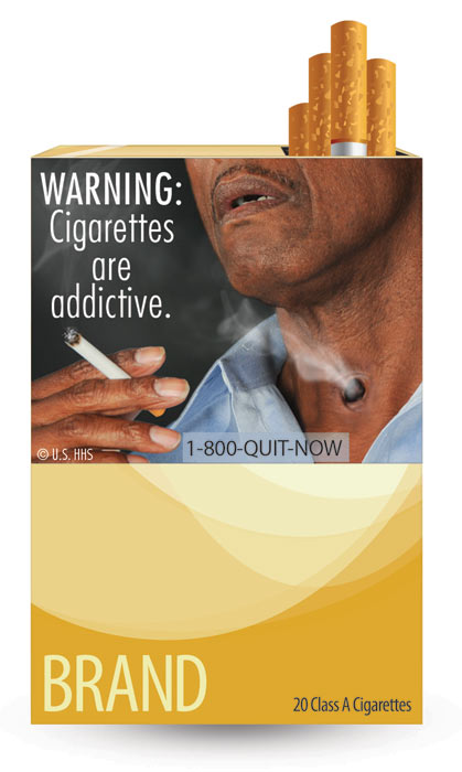 The U.S. Food and Drug Administration released nine new graphic warning labels for cigarette packs and advertisements. Cigarette makers have until fall 2012 to comply. This label warns about developing nicotine addiction and says: &#39;WARNING: Cigarettes are Addictive.&#39;  <span class=meta>(U.S. Food and Drug Administration)</span>