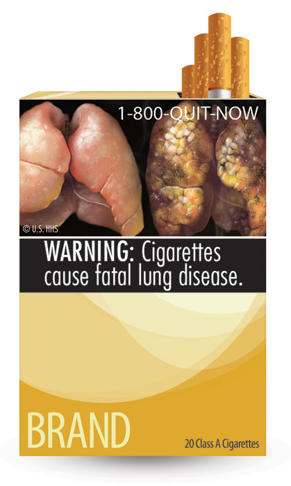 The U.S. Food and Drug Administration released nine new graphic warning labels for cigarette packs and advertisements. Cigarette makers have until fall 2012 to comply. This label warns of lung diseases associated with smoking and says: &#39;WARNING: Cigarettes cause fatal lung disease.&#39;  <span class=meta>(U.S. Food and Drug Administration)</span>