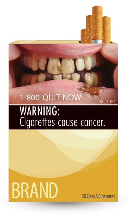 The U.S. Food and Drug Administration released nine new graphic warning labels for cigarette packs and advertisements. Cigarette makers have until fall 2012 to comply. This label says: &#39;WARNING: Cigarettes cause cancer.&#39;  <span class=meta>(U.S. Food and Drug Administration)</span>
