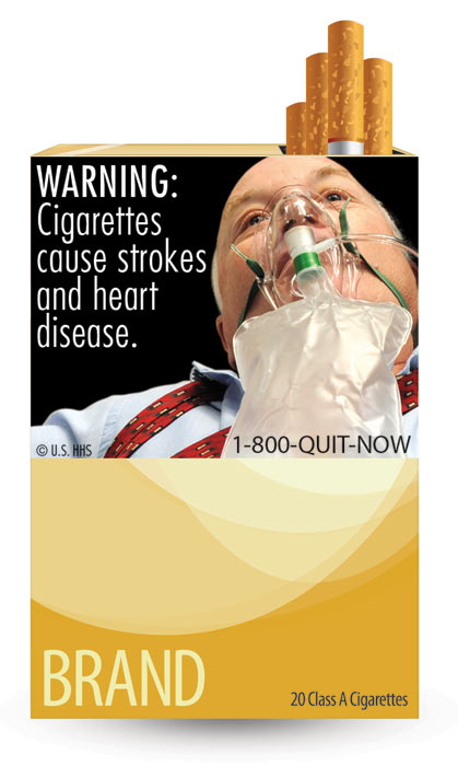 The U.S. Food and Drug Administration released nine new graphic warning labels for cigarette packs and advertisements. Cigarette makers have until fall 2012 to comply. This label warns of diseases associated with smoking and says: &#39;WARNING: Cigarettes cause strokes and heart disease.&#39;  <span class=meta>(U.S. Food and Drug Administration)</span>