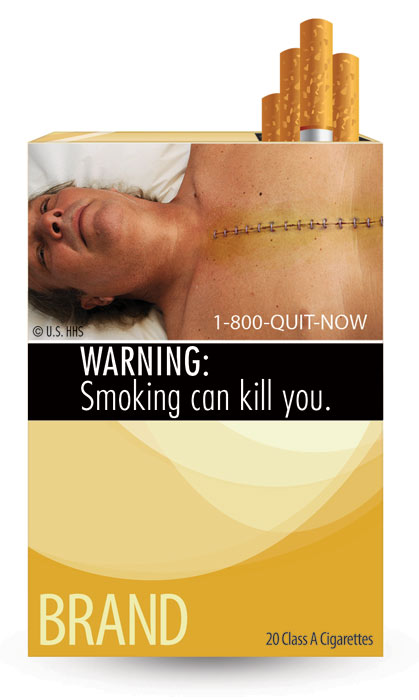 The U.S. Food and Drug Administration released nine new graphic warning labels for cigarette packs and advertisements. Cigarette makers have until fall 2012 to comply. This label warns about the danger of smoking and says: &#39;WARNING: Smoking can kill you.&#39;  <span class=meta>(U.S. Food and Drug Administration)</span>