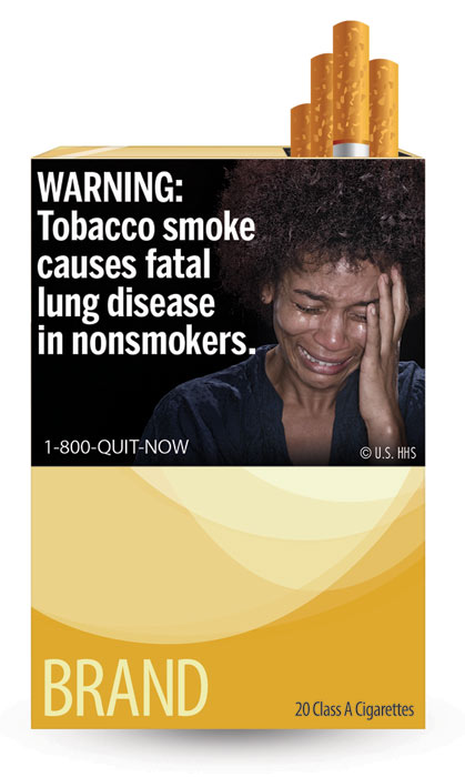 The U.S. Food and Drug Administration released nine new graphic warning labels for cigarette packs and advertisements. Cigarette makers have until fall 2012 to comply. This label warns of the danger of secondhand smoke and says: &#39;WARNING: Tobacco smoke causes fatal lung disease in nonsmokers.&#39; <span class=meta>(U.S. Food and Drug Administration)</span>