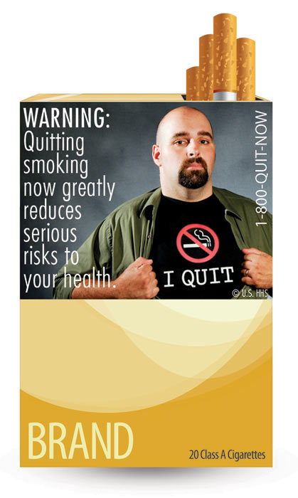 The U.S. Food and Drug Administration released nine new graphic warning labels for cigarette packs and advertisements. Cigarette makers have until fall 2012 to comply. This label refers to the benefits of quitting and says: &#39;WARNING: Quitting smoking now greatly reduces serious risks to your health.&#39;  <span class=meta>(U.S. Food and Drug Administration)</span>