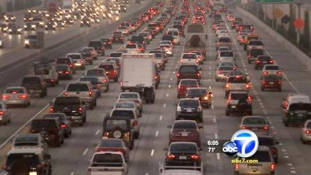 Cars are shown stuck in heavy traffic in Los Angeles in this undated file photo.