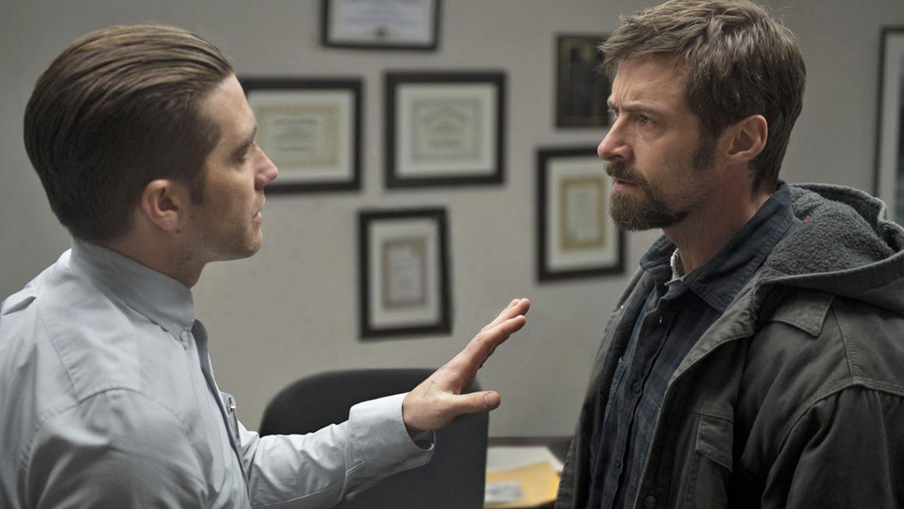 Jake Gyllenhaal and Hugh Jackman are shown in a still image from the film, Prisoners.