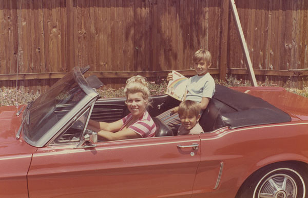 Dave Kunz &#40;sitting up in the passenger side of the back seat&#41; says, &#39;Most mothers in our San Fernando Valley neighborhood drove station wagons, but Mom often picked my brother and me up from school in her cool Mustang convertible. She&#39;s still pretty darn cool today!&#39; <span class=meta>(Dave Kunz)</span>