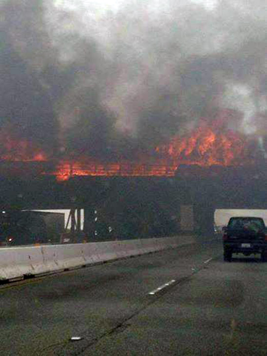 ABC7 viewer Nannette Rojas Perez sent in this photo of flames burning the Ranchero Road Bridge in Hesperia via Facebook on Monday, May 5, 2014.When You Witness breaking news, or even something extraordinary, send pictures and video to video@abc7.com, or post them to the ABC7 Facebook page or to @abc7 on Twitter.  <span class=meta>(ABC7 Viewer Nannette Rojas Perez)</span>