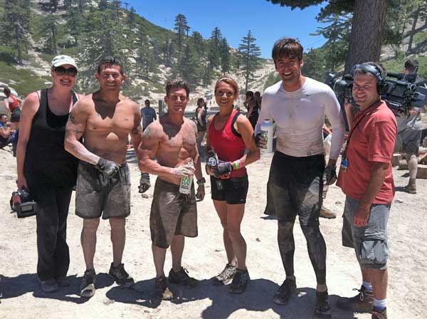 From left to right, ABC7 Eyewitness News Producer Lisa Bartley, Santa Ana Police Cpl. Ed Hernandez, Officer Pete Picone, reporter Eileen Frere, reporter Elex Michelson and photographer Brian Miller at Tough Mudder on Saturday, July 7, 2012.