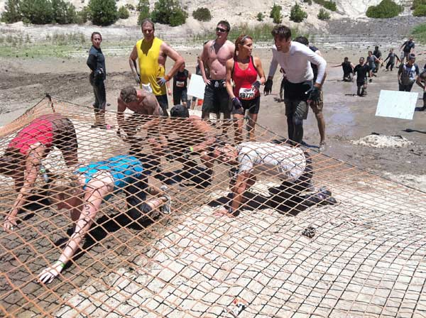 Tough Mudder participants transition from one obstacle to another during the event in Running Springs on Saturday, July 7, 2012. <span class=meta>(KABC Photo)</span>