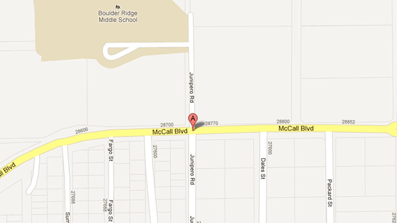 A Google map image shows the intersection of McCall Boulevard and Junipero Road in Menifee, where a deadly car crash occurred on Wednesday, June 6, 2012.