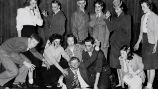 In high school Bob, bottom center, performed in a number of theater productions on campus.