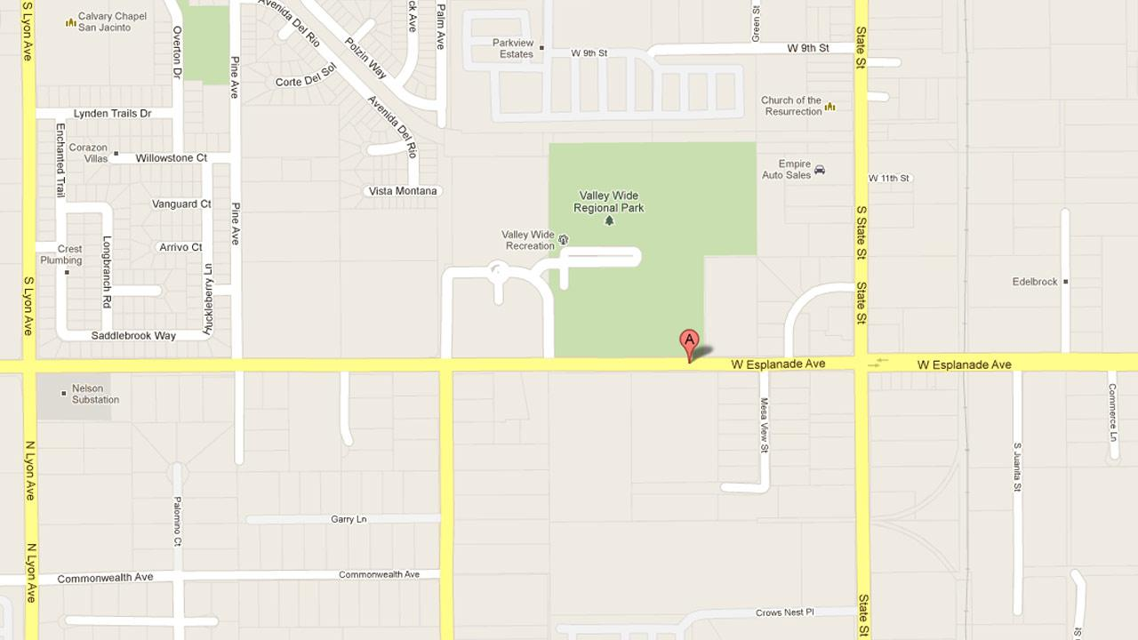 A map indicates the location of Extra Space Storage in the 800 block of W. Esplanade Avenue in Hemet.
