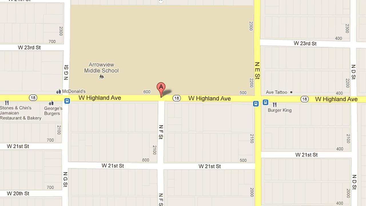 A map shows the 600 block of West Highland in San Bernardino.