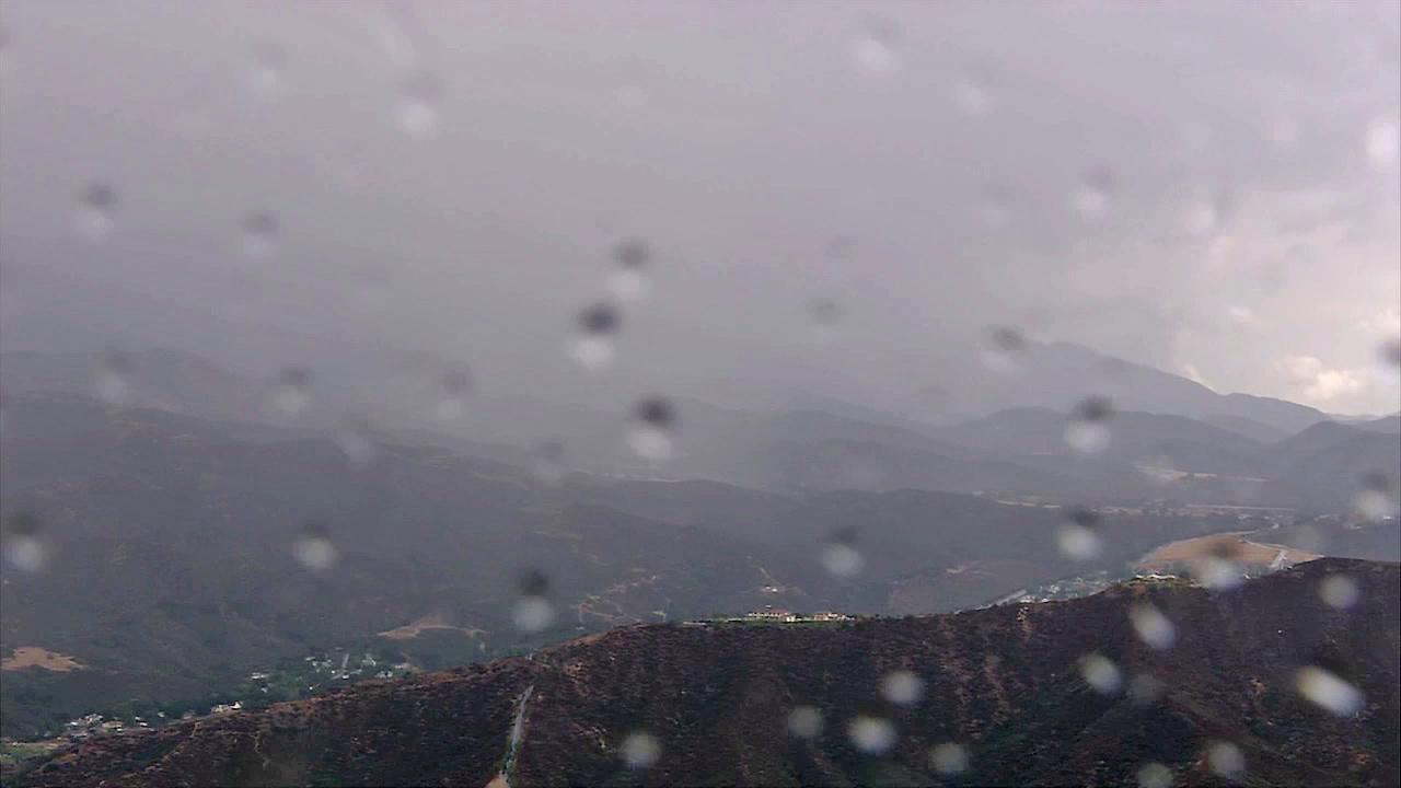 An aerial shot shows rainfall in Yucaipa on Friday, August 17, 2012.
