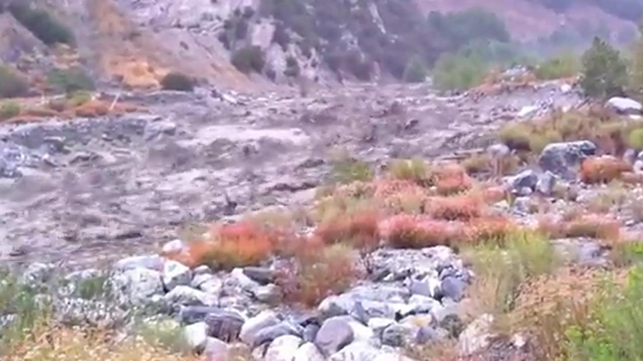 A still from footage shows a mudslide in a creek in Forest Falls on Friday, August 17, 2012. <span class=meta>(ABC7 viewer George Forgues)</span>