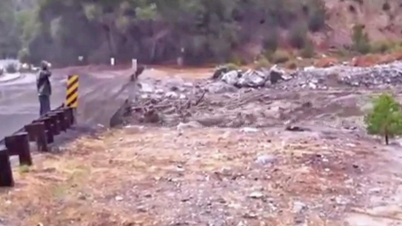 A still from footage shows a mudslide in a creek in Forest Falls on Friday, August 17, 2012.ABC7 viewer George Forgues