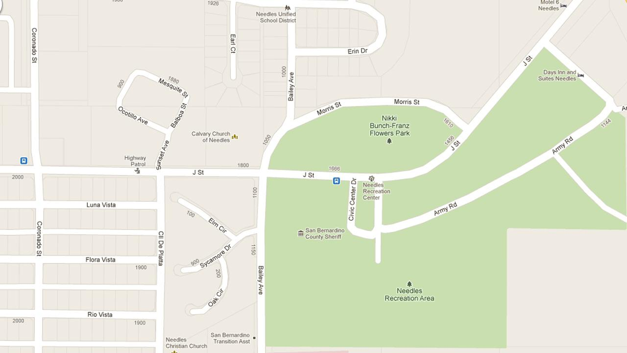 A Google Maps image shows the approximate location of the San Bernardino County Library Needles Branch.