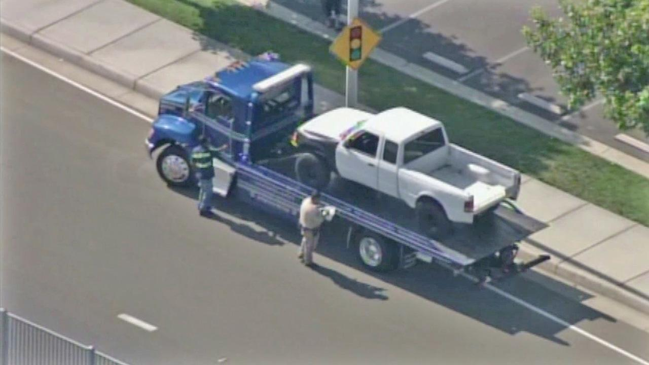 A truck is seen outside Hemet High School. The driver, Daniel Carrillo, struck eight students outside the high school on May 30, 2012. All eight students survived but one suffered serious brain damage.