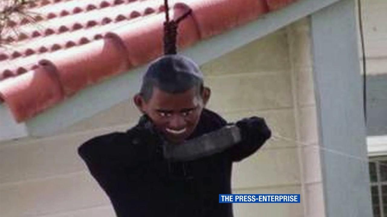 An effigy of President Barack Obama in Moreno Valley is shown in this photo provided by the Press-Enterprise.