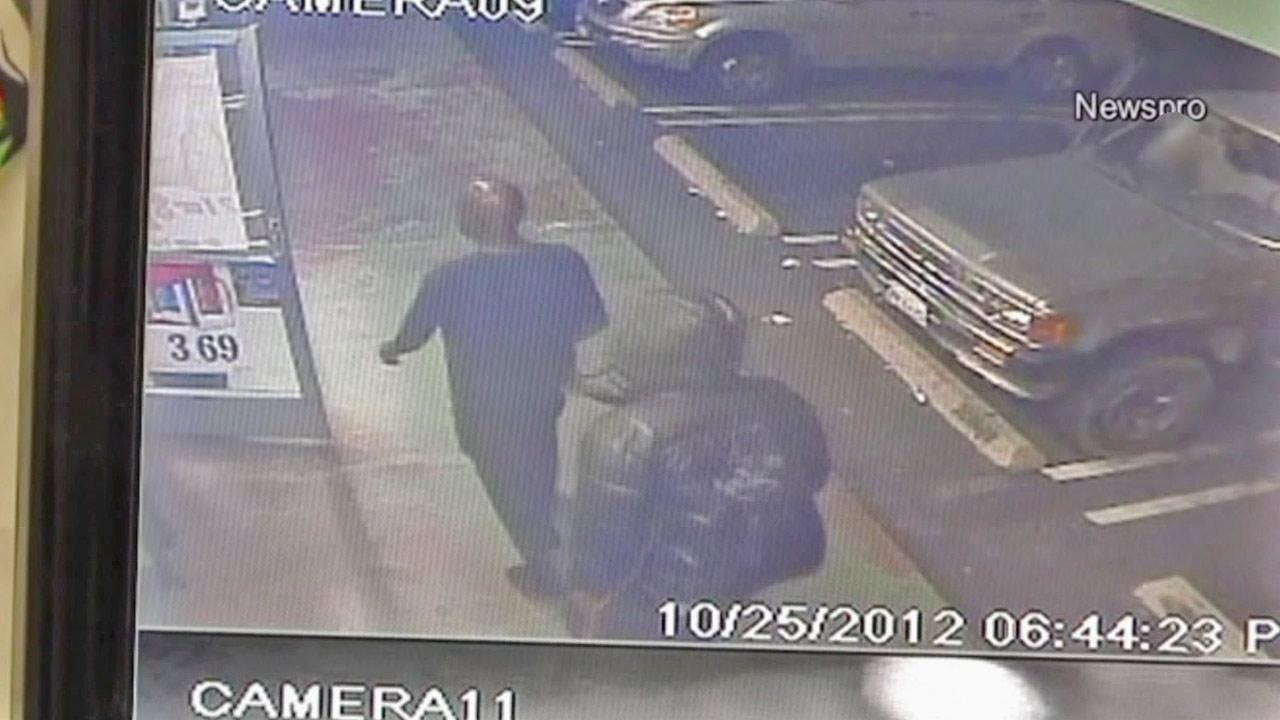 In this surveillance video, two of three suspects involved in a shooting and attempted robbery at One Stop Food Store in Highland are seen entering the business on Thursday, Oct. 25, 2012.