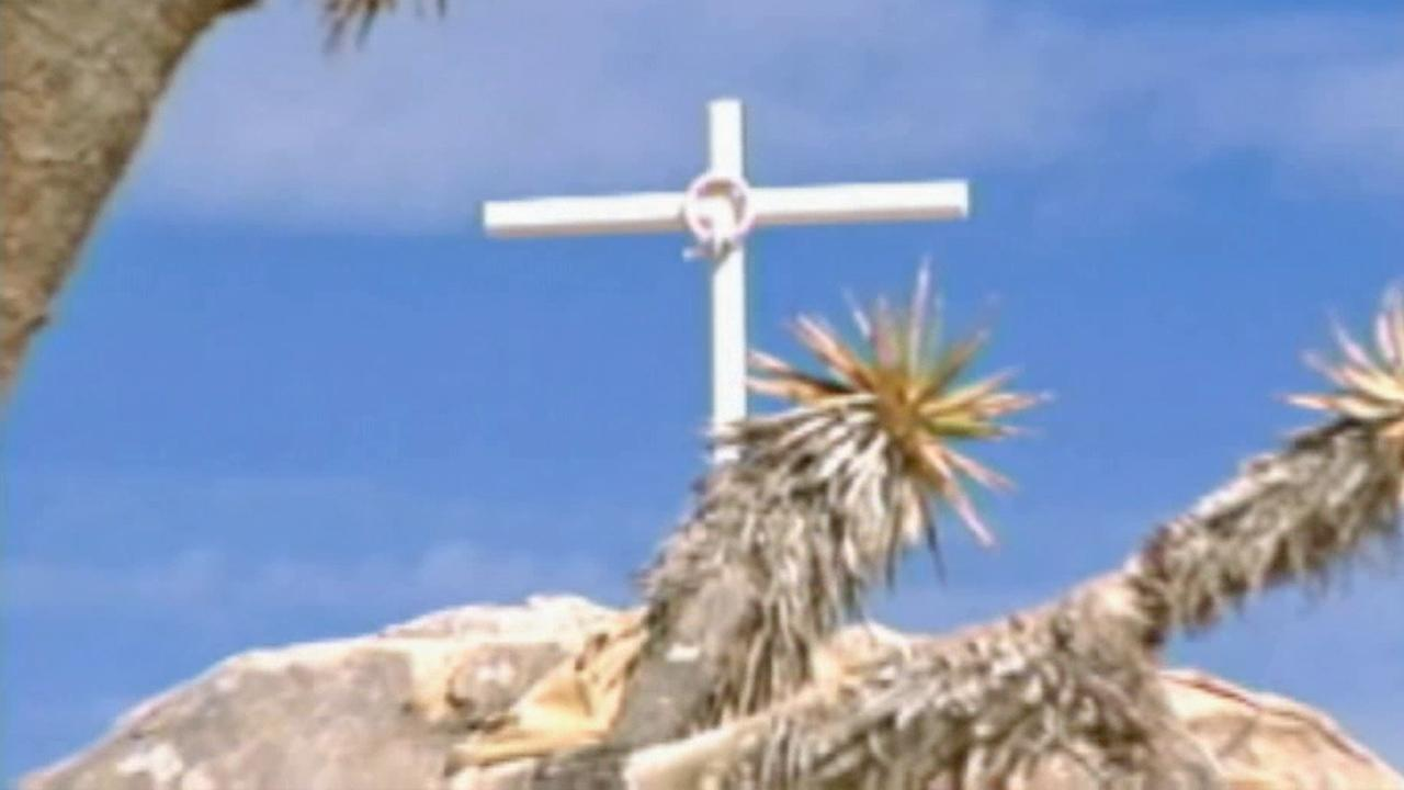A 7-foot cross that is meant as a monument to World War I veterans is seen in the Mojave National Preserve in this undated file photo. The cross was the subject of a long legal battle over displaying a religious symbol on federal land.