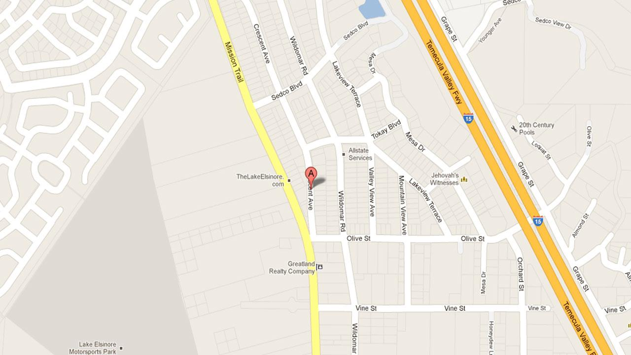 A map indicates the area in the 32900 block of Crescent Avenue where Wildomar police responded to an armed robbery at a yard sale Saturday, Nov. 24, 2012.