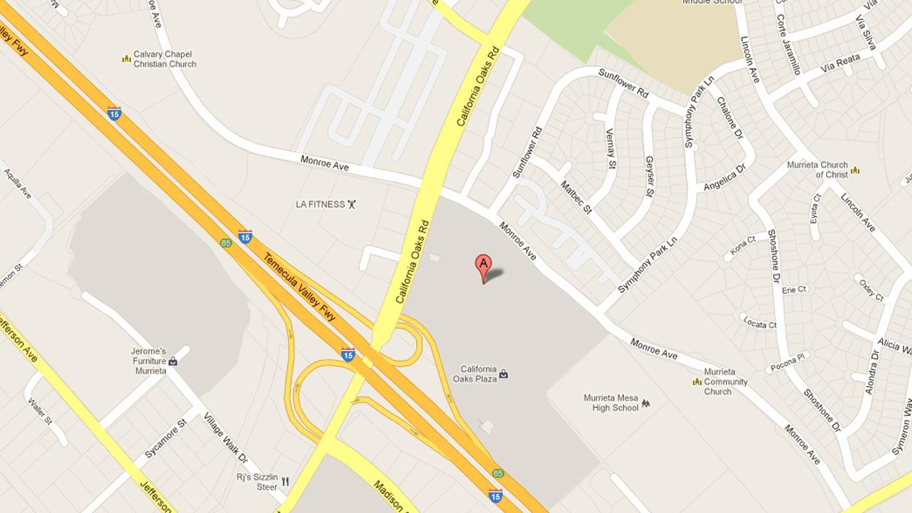 A map indicates the area on the 41000 block of California Oaks Road in Murrieta where a man and woman were arrested for trying to buy a laptop computer with a stolen credit card at Target on Friday, Nov. 23, 2012.